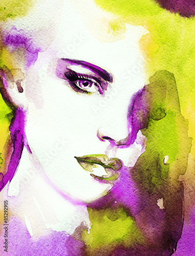 Woman face. Hand painted fashion illustration - 85292905
