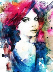 Woman face. Hand painted fashion illustration © Anna Ismagilova
