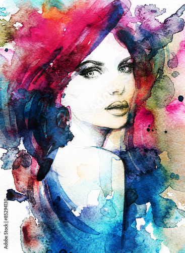 Woman face. Hand painted fashion illustration - 85294130
