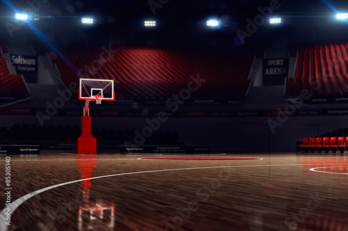 Zdjęcia Basketball court. Sport arena. 3d render background. unfocus in long shot distance
