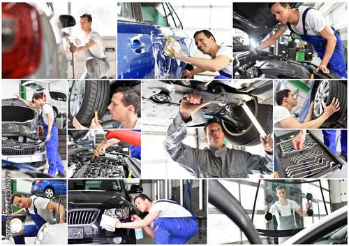 Deurstickers Fietsen professional auto mechanics - car repairs in a workshop - collage