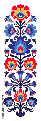 obraz PCV Polskie ludowe kwiaty papercut