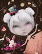 Obrazy na płótnie, fototapety, zdjęcia, fotoobrazy drukowane : Illustration or postcard with Alice in Wonderland