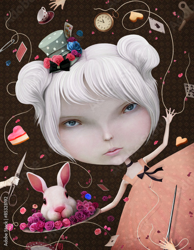 Illustration or postcard with Alice in Wonderland - 85328192