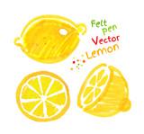 Childlike drawing of lemon. poster