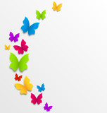 Fototapety Abstract spring background with rainbow butterflies