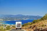 Fototapety Caravan on the road at the mediterranean shore