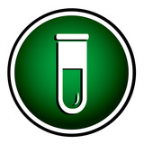 Test tube round green icon. Biochemistry and microbiology equipm poster