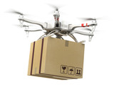 Delivery concept - Drone multi copter carrying carton box poster