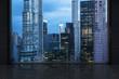 Minimalist interrior with a huge window and panoramic New York city.