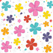 Colorful cute flowers greeting card vector