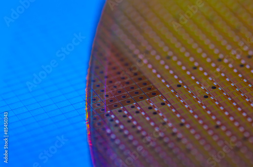 Poster Chip Wafer with Rainbow Colours, Technology Background