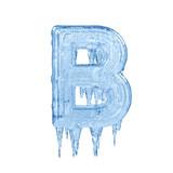 Fototapety Letter B. Ice font isolated on white background. Alphabet.