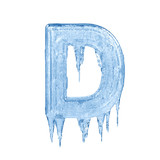 Fototapety Letter D. Ice font isolated on white background. Alphabet.
