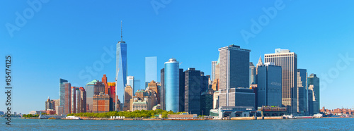 New York New York City lower Manhattan financial wall street district buildings skyline on a beautiful summer day with blue sky