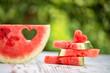 Obrazy na płótnie, fototapety, zdjęcia, fotoobrazy drukowane : decorated watermelon slices