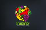 Fruit mix Logo design vector template circle shape...Vegetarian - 85500935