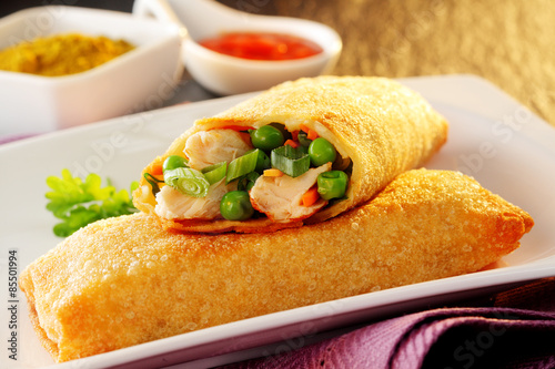 Two delicious spring rolls with fresh vegetables