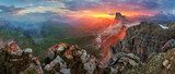 Panorama dramatic sunset in dolomites alp mountain from peak Nuv