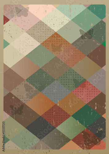 Abstract retro geometric background with butterflies. Vector Illustration © victoria_novak