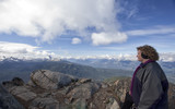 hiker  looking at Black Tusk mountain from Whistler summit poster
