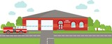 Fire station emergency concept. Panoramic background with fire