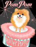 Fototapety Illustrated poster of a Pomeranian dog and fictitious cosmetic brand advertisement