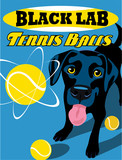 Fototapety Illustrated poster of a Black Lab dog and fictitious tennis ball brand advertisement