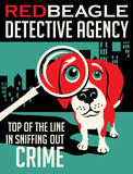 Fototapety Illustrated poster of a Beagle dog and fictitious detective agency advertisement