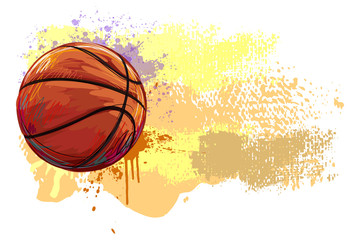 Basketball Banner. All elements are in separate layers and grouped.