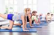 Leinwanddruck Bild - Gruppe bei der Gymnastik