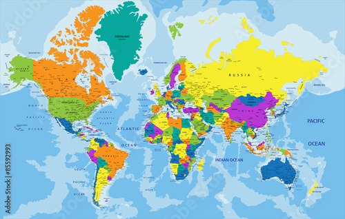 Colorful World political map with clearly labeled, separated layers. Vector illustration.
