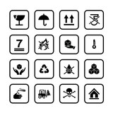 Set of packing symbols icon for box isolated on white background