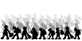 Illustration of migrants on white background poster