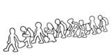 Illustration of migrants poster
