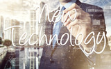 businessman writing New Technology terminology on virtual screen with modern business or technology background - New Technology poster