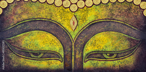 Poster buddha face acrylic painting