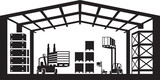 Fototapety Industrial warehouse scene - vector illustration