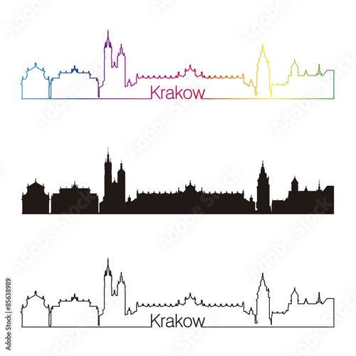 Krakow skyline linear style with rainbow