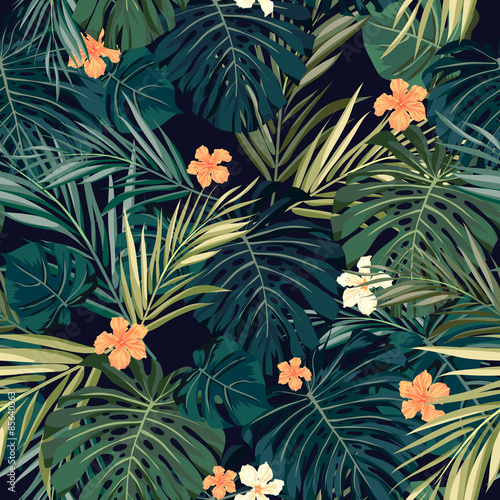 Obraz na Szkle Bright colorful tropical seamless background with leaves and
