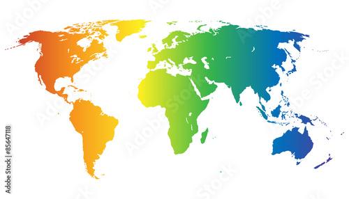 Weltkarte in Regenbogenfarben - Vektor