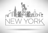 Fototapety Linear New York City Skyline with Typographic Design