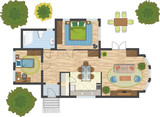 Colorful floor plan of a house. - 85675116