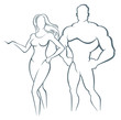 Detaily fotografie Vector illustration of muscleman and fitness woman