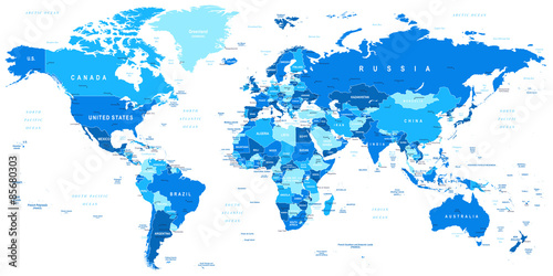 Canvas Wereldkaarten Highly detailed vector illustration of world map.Borders, countries and cities.