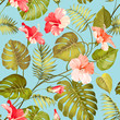 Cotton fabric Seamless tropical flower.