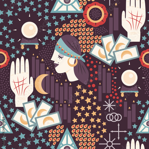Materiał do szycia Fortune teller themed seamless pattern with gypsy fortune teller woman, tarot cards, palmistry icons, and other divination symbols.