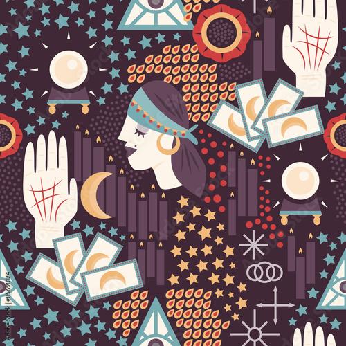 Materiał do szycia Fortune teller tematyczne jednolity wzór z fortune teller Cyganki, karty tarota, chiromancja ikon i innych symboli siły nadprzyrodzone.