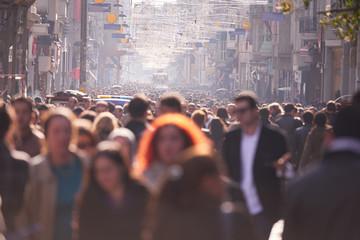 people crowd walking on street