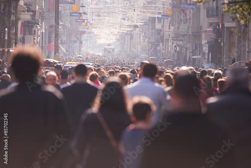 people crowd walking on street Poster